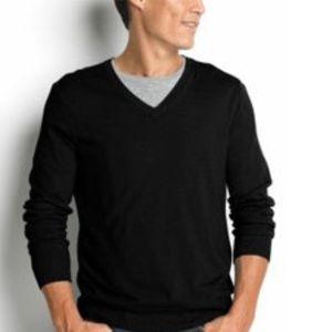 Banana Republic Black Merino Wool V-Neck Sweater